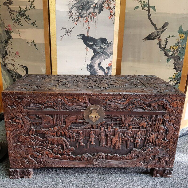 Chinese Camphor Wood Chest, with superb deep carving on all sides, depicts a Chinese fairy tale c.1920 - $950