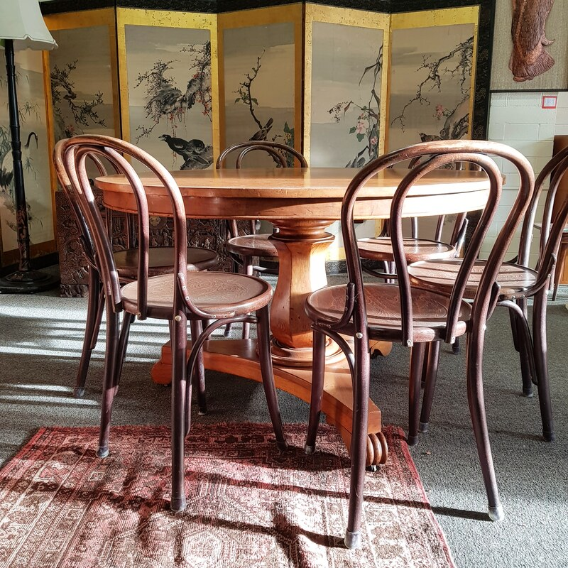 Colonial Cedar Tilt-Top Dining Table c.1840 - $2400 // Bentwood Chair #18 with pressed pattern seat by TON, made in Czech Republic - $220 each, set 6
