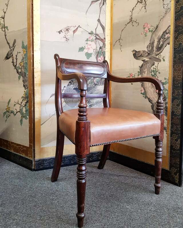 Regency Mahogany Carver Chair with Leather Seat c.1820